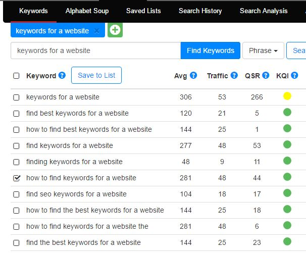 Jaaxy Keyword Search Screen
