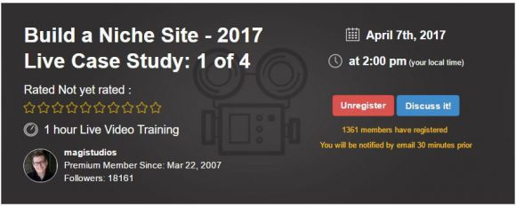 Build a Niche Site 2017 Live Webinar