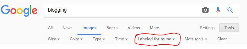 Google Images Menu Bar