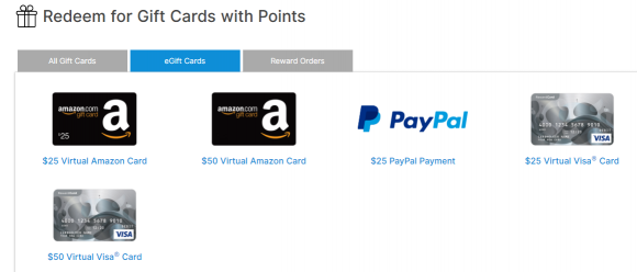 OneOpinion Virtual Gift Card Rewards