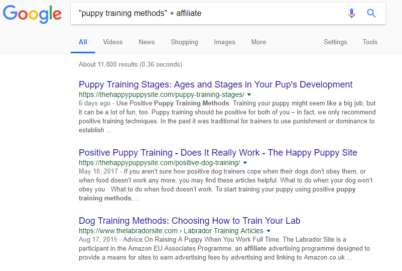 Pet Affiliate Programs - Google Results